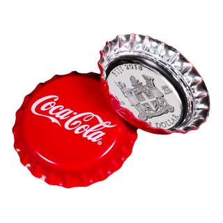 Coca-Cola Bottle Cap-Shaped 6 g Silver Colorized Proof Figi 2018