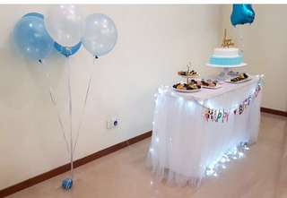 Party- table skirting and Happy Birthday banner