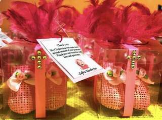 Pink Baby Boots Baptismal Give Aways