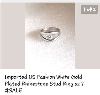 US Fashion White gold plated rhinestone stud ring sz7