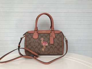 Coach Mini Bennett Satchel in signature canvas with flamingo patches