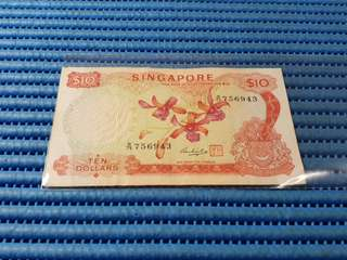 Singapore Orchid Series $10 Note B/79 756943 Dollar Banknote Currency
