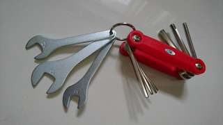 Allen/Hex Key Retractable Pocket Set + Spanner Keyring Set