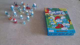 Preloved smurfs storybook with figurines