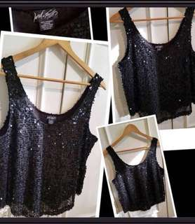 ***** Stunning Lord and Taylor new black sequins sleeveless top in Medium
