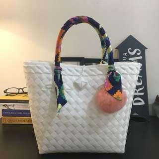 White Woven Straw Bag