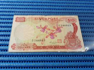 Singapore Orchid Series $10 Note B/41 744913 Dollar Banknote Currency