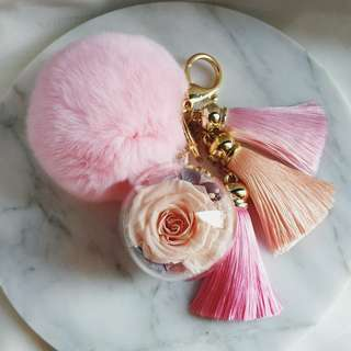 Pink Bag Charm - Nude Pink Rose