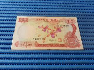 Singapore Orchid Series $10 Note B/27 439859 Dollar Banknote Currency