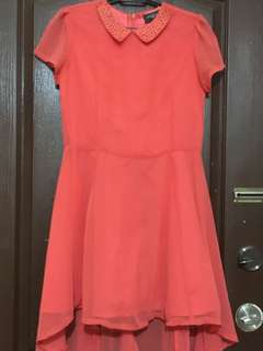 Coral Dress with Beadings
