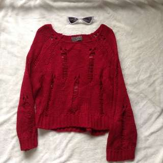 Red Tattered Sweater