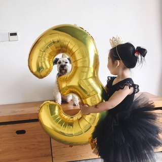 """42""""Gold / Silver foil number balloon"""