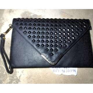 handbag slim wallet pure black woman
