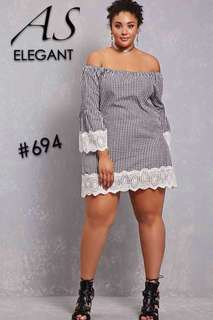 Checkered Embroidered lace hemline Dress