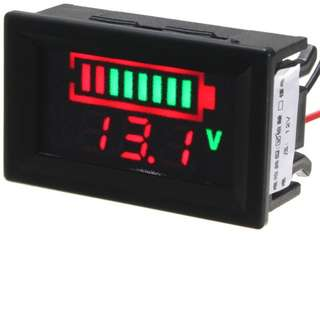 12V Lead Batteries Indicator Battery Capacity Voltage Meter Dual Display LED Tester (RED)