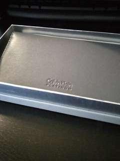 100%全新Calvin Klein Platinum 女裝型格灰真皮長銀包連原裝盒及布袋