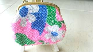VINTAGE FLORAL BEADED COIN PURSE