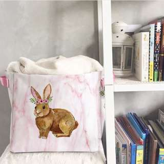 TOY STORAGE BOX bunny rabbit pink