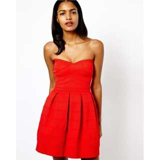 River Island Textured Strapless Prom Red Dress