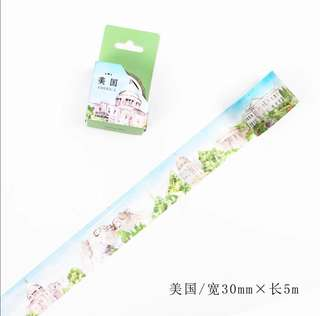 🌸Ready Stock🌸 InfeelMe City × Masking Tape City Series America 30mm×5m