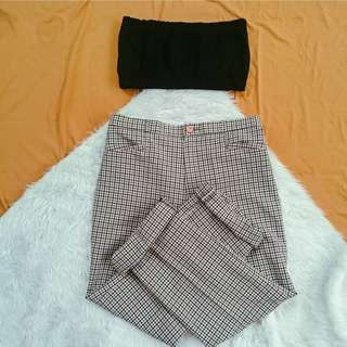 Topshop vintage Gingham trousers