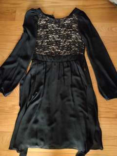 Dorothy Perkins Black Lace Dress with Ribbon