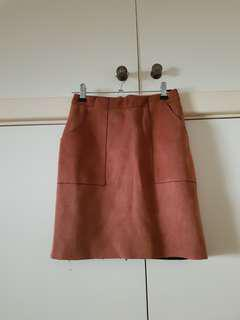Missguided Brown Faux Suede Skirt Size 6/XS