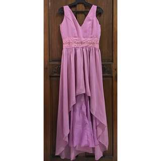 Long Back Watermelon Pink Gown | Pre Loved
