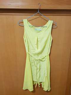 🚚 韓版亮黃下襬薄紗小洋裝 #一百均價