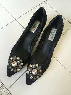 Lace Jewelled Heels Size 38