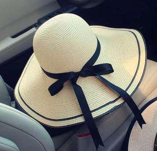 🚚 👒夏日百搭防曬編織帽👒大帽沿✌🏻折疊不變型