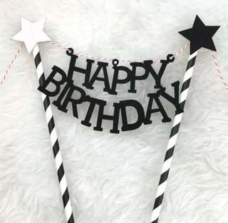 Black Silver Stars Happy Birthday Stars Cake Topper Bunting Decoration Decor Cupcake Toppers