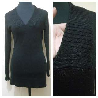 WA731 Shimmery Black Knitted Sweater (see pics for Measurements & flaw)