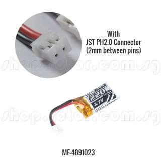 🚚 MakerFire 1S / 3.7V 220mAh 35C LiPo Battery with JST-PH2.0 connector, ~27x15x9mm, ~6.2g for MakerFire Amor Blue Shark. Code: MF-4891023