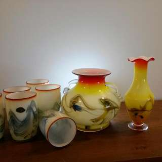 Vintage Handblown Drinking Glass And Vases