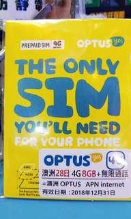 澳洲28日4g 8gb+無限通話上網卡