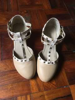 Beige Low Wedge Shoes