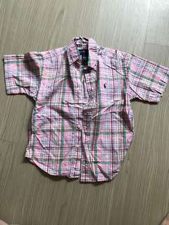 🚚 Ralph lauren女童格子襯衫(前胸些許污漬)