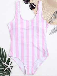 Striped Shaping Padded One Piece
