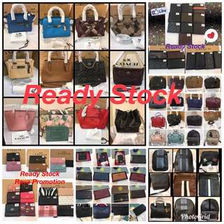 16/6/18 Final Ready Stock listing Original Coach Handbag Tory Burch Wallet Purse Micheal Kors fuels Guess bonia Handbag Wallet clutch wristlets gym mummy bag shopping bag furla