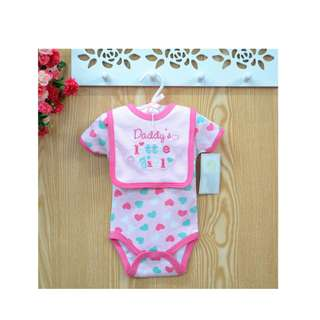 BabyG Pink I Love Mommy (STRIPES) with Bib Set (3-6Months) (6-9Months)