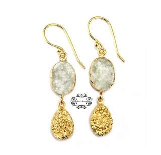 Handmade 24K Gold Genuine Agate Druzy Crystal Dangle/Drop Earrings -E . 手製24K金真瑪瑙晶簇水晶晶石垂吊耳環-E