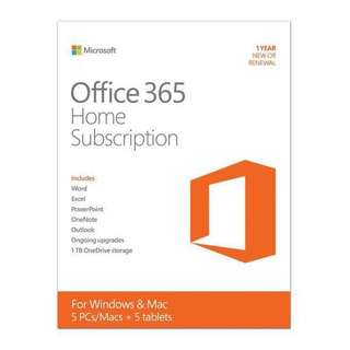 Microsoft Office 365 Home subscription (1 year)