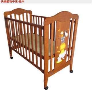 「撿便宜」品牌柚木中床  嬰兒床附全新床墊 三重自取