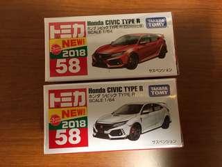 [日版] 數量極少 Tomica No.58 Honda Civic Type R / 壓印編號 E 0218 / 售完即止 / 此商品沒有額外折扣