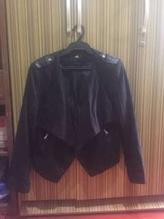 H&M black jacket with leather details