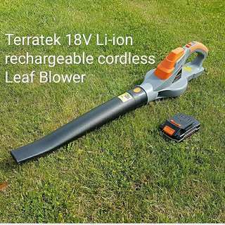 Terratek 18V Lithium-ion Cordless Leaf Blower, Pro Handheld Garden Powerful & Lightweight, Lithium-ion Battery and charger included