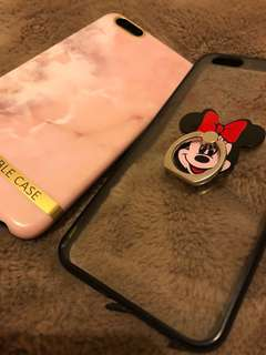 🚚 Iphone6plus二手 手機殼2入大理石紋+透明軟殼