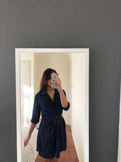 Stripe navy shirt dress