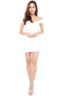 BN Off-Shoulder Bodycon White Dress (S)